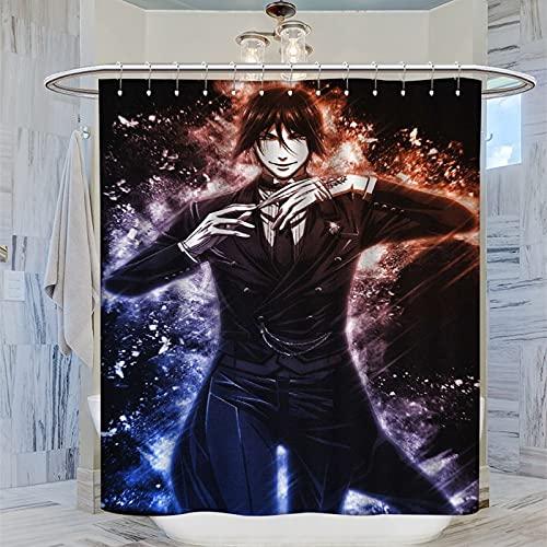 ERGF Black Butler Duschvorhang, personalisierbar, Dekoration für Kinderbadezimmer für moderne Badezimmeraccessoires, 183 x 183 cm