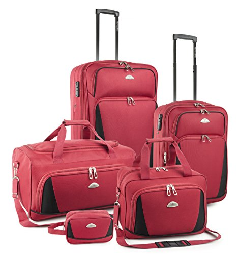 TravelCross Dublin 5 Piece Luggage Set w/ TSA lock - Red