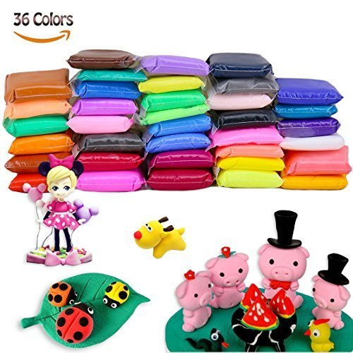 36 Colours Polymer Clay Modeling Clay Soft Moulding Craft Plasticine Alternative, Sculpture Tool set Modelling Moulding Tool set Never Dry Out