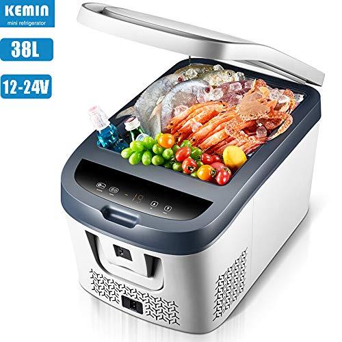 APICK Auto Kühlschrank Kompressor Kühlbox Gefrierbox 28L / 38L Mini Gefrierschrank,mit Intelligenter Temperaturregelung Für Camping, Reise,Capacity:38L-DC12-24V
