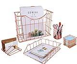 Superbpag Rose Gold Office Supplies 5 in 1 Desk Organizer Set - Hanging File...