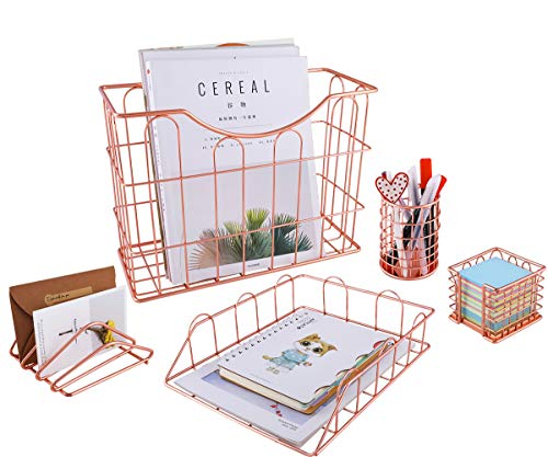 Superbpag Rose Gold Office Supplies 5 in 1 Desk Organizer Set - Hanging File Organizer, File Tray, Letter Sorter, Pencil Holder and Stick Note Holder