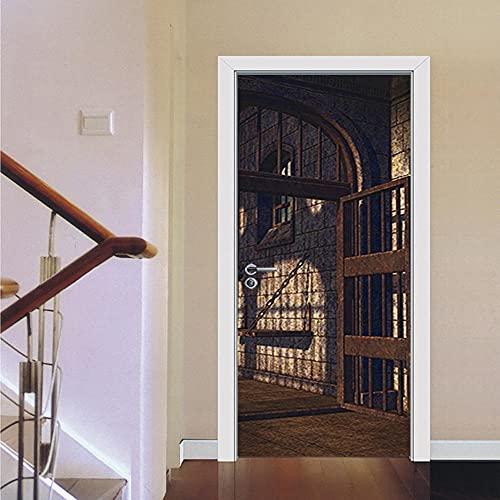 Pegatinas de Puerta en 3D 95x215cm DIY Autoadhesivo Puertas Mural Etiqueta Papel Tapiz para el Dormitorio Sala de Baño Cocina Calcomanía de la Puerta Pared - Puerta de la Prisión