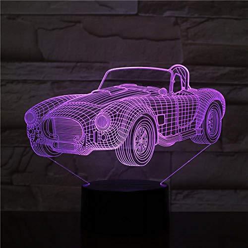 jiwenhua Lampada da Tavolo 3D A LED per Auto Sportive da Notte A Forma di Crepa Colorata, Trasformabile 2, con Base di Allarme