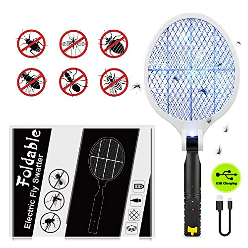Myguru Raqueta Matamosquitos Eléctrico USB Recargable Para Exterminador Matamoscas Mosquito Killer Zapper...