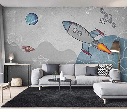 Fototapete Cartoon-Rakete Vlies Wallpaper 350x250cm Fotowand Moderne Wandtapete Kinderzimmer Dekoration