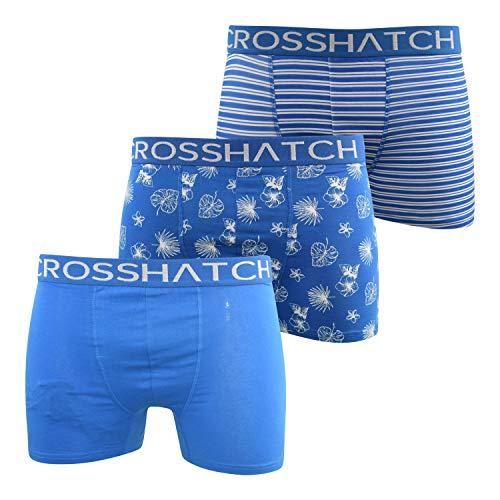 Crosshatch Stylefour Herren Boxershorts (3er-Pack) Multipack Unterwäsche Geschenkset Gr. S, Directoire Blue