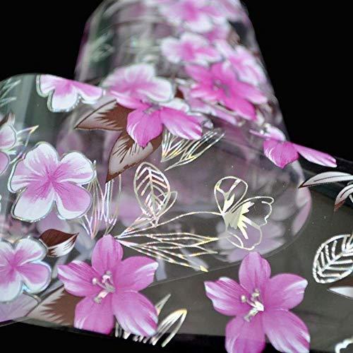 Nailart - Nagelfolie - Transferfolie - Pink/Silber/Transparent - Blumen - 1400-SY634