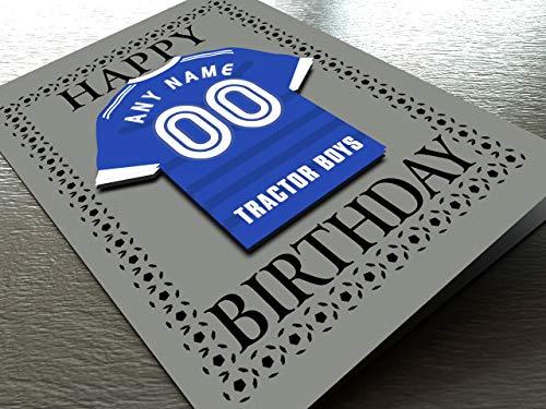 CHAMPIONSHIP Fußball Club Shirt Kühlschrank Magnet Geburtstag Karten, kostenlose Personalisierung, jeder Name, beliebige Farben,. A5 Fridge Magnet Greeting Card Ipswich Town FC Football Team Magnet