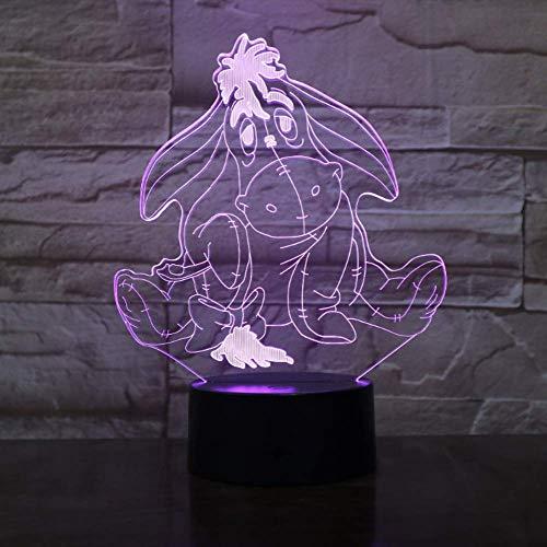 YHSM Winnie l'ourson ami mignon de bande dessinée 3D LED veilleuse 7 changement de couleur lampe de table décoration maison vacances enfants décoration de vacances cadeau