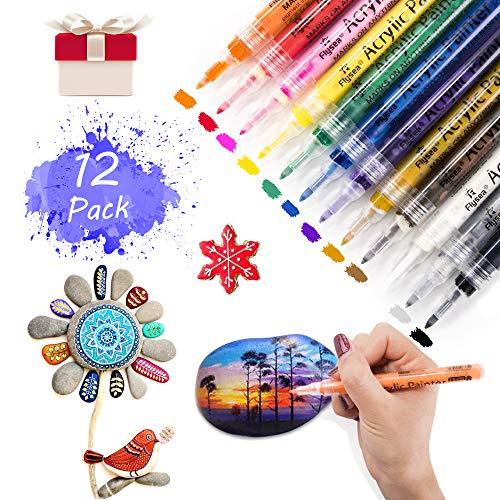 Electype Acrylstifte Marker Stifte, 0,7mm Acrylfarben Marker Set mit Dünner Spitze,Wasserfest Permanent Art Filzstift Acrylic Painter 12 Farben für Steinmalerei,DIY Fotoalbum Glas
