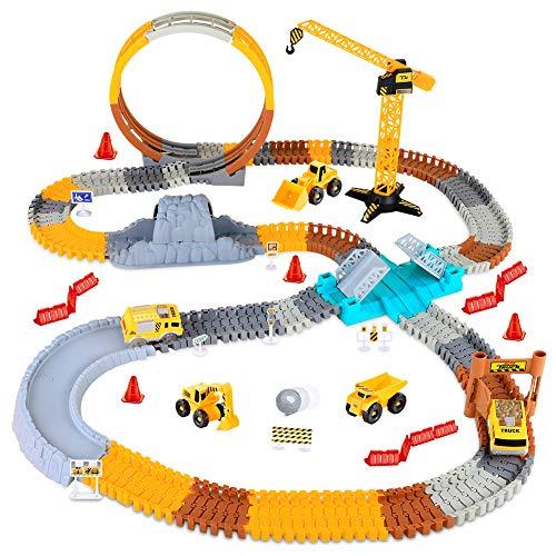 BIMONK Autorennbahn 225 Stück, Kind Spielzeug für 2 3 4 5-jährige Jungen, Mädchen, Spielzeugspielset mit 2 LED-Rennwagen und 3 Mini-Baufahrzeugen, Race Car Track Spielset für Kinder