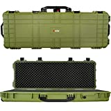 Eylar 48' Inch Protective Roller Tactical Rifle Hard Case with Foam, Mil-Spec Waterproof & Crushproof, Two Rifles Or Multiple Guns, Pressure Valve with Lockable Fittings OD Green