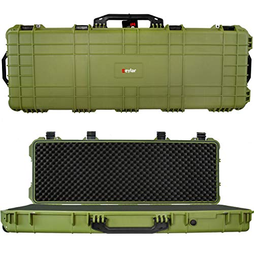 "Eylar 48"" Inch Protective Roller Tactical Rifle Hard Case with Foam, Mil-Spec Waterproof & Crushproof, Two Rifles Or Multiple Guns, Pressure Valve with Lockable Fittings OD Green"