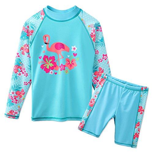 TFJH E Toddler Girl Long Sleeve Swimsuits Rashguard Beachwear UPF 50+ UV Cyan Swan 8A