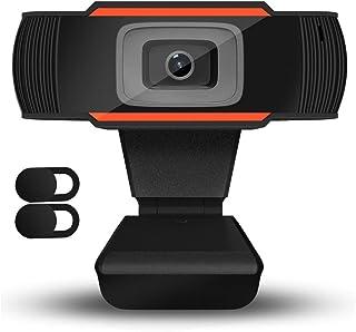 QueenDer Webcam con Microfono HD Network Camera con 2 Pezzi Copertura Privacy Slide Blocker USB Plug And Play per PC Laptop Desktop Videochiamate, Conferenze