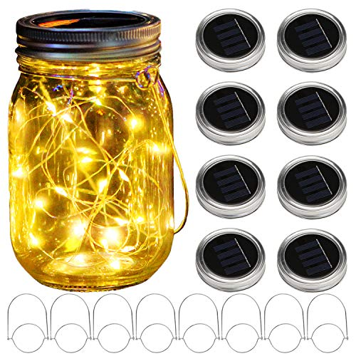 KZOBYD 8 Pack Solar Mason Jar Lid String Lights with 8 Handles,10 LED Fairy Starry Firefly Lights Kit Hanging for Outdoor Indoor Patio Wedding Decor(Jars Not Included) (Warm White)