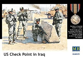 Master Box US Soldiers Check Point Iraq (4) Figure Model Building Kits (1:35 Scale)