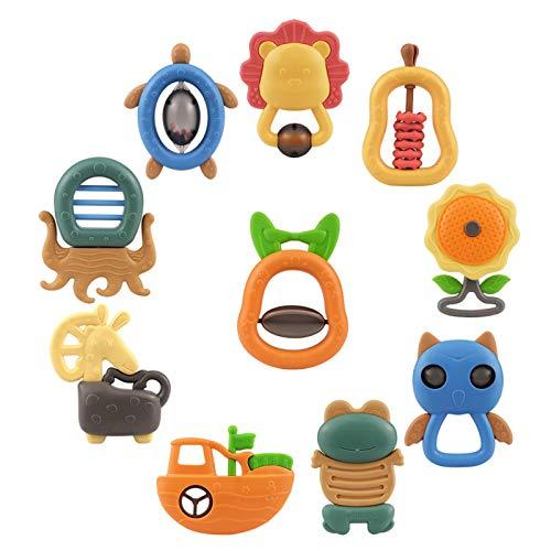 Neonato Sonagli Giocattoli, Scuotere e GRAP Rattle Toy Animal Handbells per 3 6 9 12 Mesi Infant Boy Girl Regali, Confezione da 10