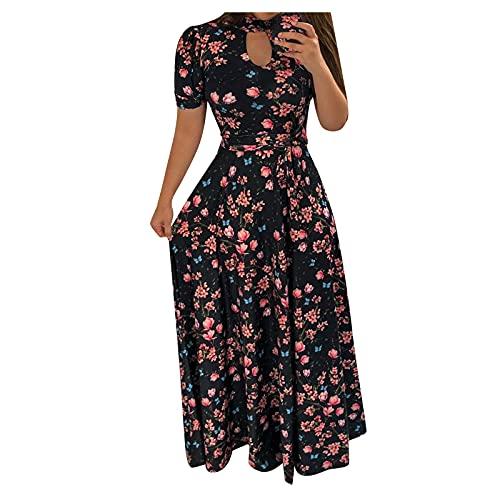Vestido largo para mujer, cuello en V, manga corta, vestido de verano, minivestido de playa, con cinturón, estampado de flores morado XL
