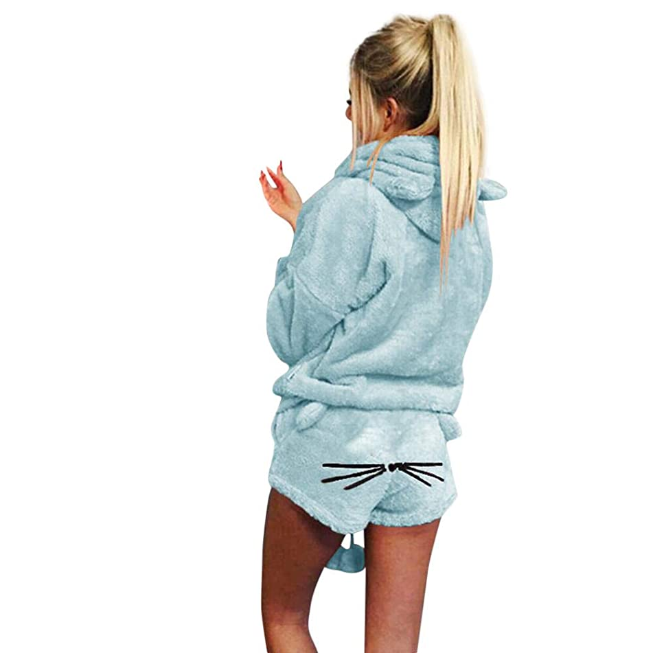 Women Solid Color Hoodie Sleepwear Duseedik Lady Warm Winter Set Two Piece Cute Cat Pajamas