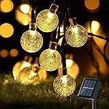 Guirnalda Luces Exterior Solar con 8 Modos,30 LED 6.5M Luces de Burbuja de Hadas LED Impermeable Luz de Bola de Cristal para Exterior,Interior, Jardines, Casas, Boda, Navidad, Blanco cálido