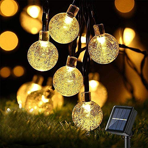 Cadena de Luces Solares con Bolas de Cristal, 7M, 50 Ledes,8 Modos,...