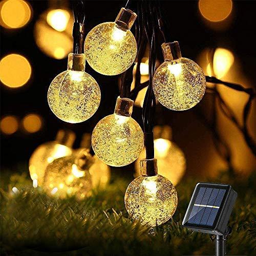 Cadena de Luces Solares con Bolas de Cristal, 7M, 50 Ledes,8 Modos, IP65, para Exteriores,Lámparas Solares Decorativas para Casa,Jardín, Terraza,Césped,Fiestas y Vacaciones,Color Blanco Cálido
