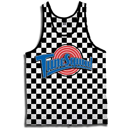 space jam Mens Classic Tank - Tune Squad Monstars & Bugs Bunny Jersey 90's Classic Tank Top (Checker, X-Large)