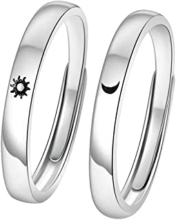 2pcs Sun Moon Couple Rings Copper Polish Adjustable Lovers Ring for Girlfried Boyfriend
