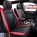 INCH EMPIRE Custom Fit for Jeep Grand Cherokee Seat Cover 2011-2021 Airbag Compatible Synthetic Leather Water-Proof 2011 2012 2013 2014 2015 2016 2017 2018 2019 2020 2021 (Black&Red)
