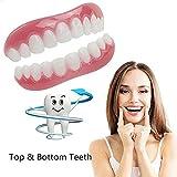 WOkismx Cosmetic Teeth, Snap on Instant Smile Upper Veneer Comfort Fit Flex Cosmetic Teeth One Size Fits Most Comfortable Denture,8pairs