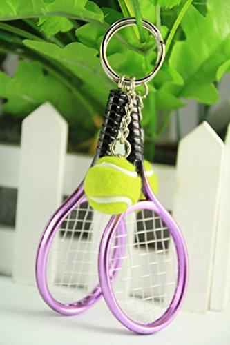 メタリック テニスラケット & ボール ペア キーホルダー 2個セット パープル