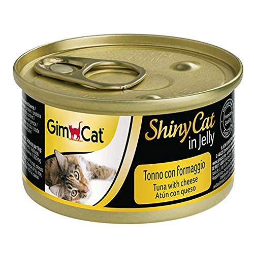 GimCat ShinyCat in Jelly Thon au fromage – Nourriture humide pour chats au poisson et à la taurine – 24 boîtes (24 à 70 g)