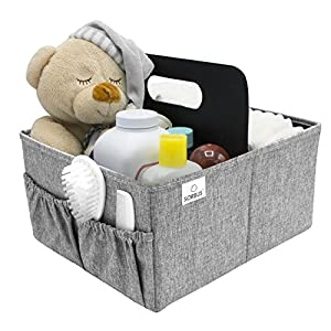Sorbus Baby Diaper Caddy Organizer – Nursery Essentials Storage Bin for Diapers, Wipes & Toys, Newborn & Infant Portable Car Travel Storage Bag, Changing Table Organizer, Great Baby Shower Gift (Gray)