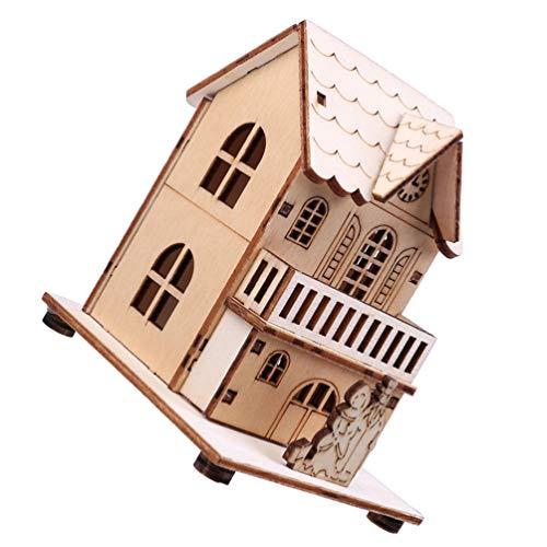 Toyandona Navidad casa adornos mini LED madera casa de pueblo linterna árbol de Navidad adornos para fiesta decoración...