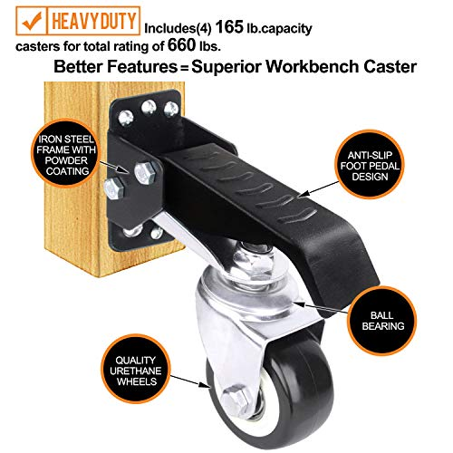 SOLEJAZZ Workbench Caster kit 660 LBS Capacity 4 Heavy Duty Retractable Workbench Casters Wheels All Steel Construction Urethane, Bonus Install Template, 4 Pack