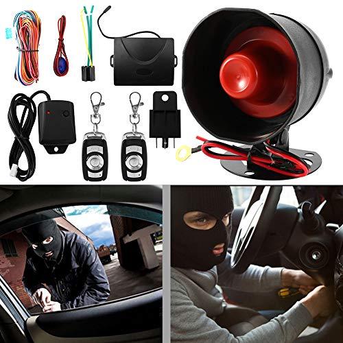 Qiilu 12V Sistema universal de alarma de coche Botón pulsador Arranque Parada Bloqueo Protección antirrobo