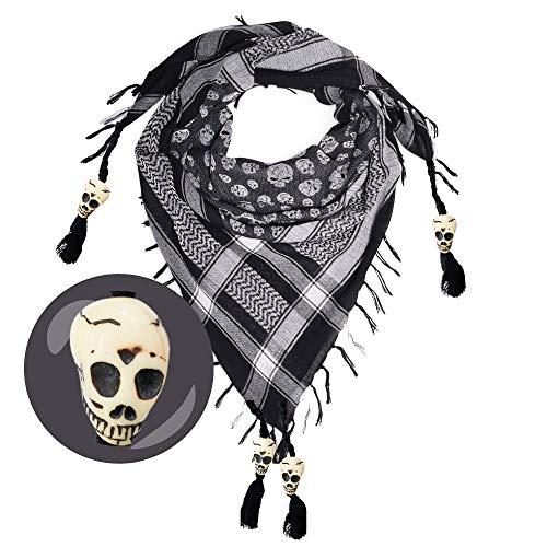 Skull Scarf for Men & Women - Halloween Scarf - Black & White Cotton...