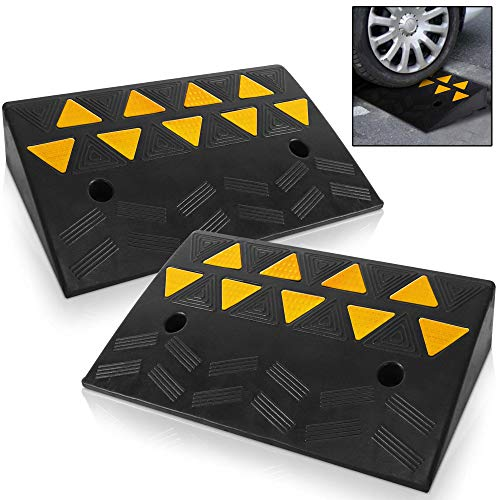 Pyle Car Vehicle Curbside Driveway Ramp - 2PC Heavy Duty Rubber Threshold Bridge Track Curb Ramp, for Loading Dock, Garage, Sidewalk, Truck, Scooter, Bike, Motorcycle, Wheelchair Mobility PCRBDR45
