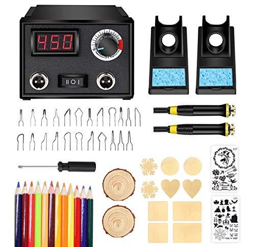 Wood Burning Kit,Wood Burning Tool,Wood Burner Tool,Wood Burning Tips,Pyrography Kit with Wood Piece (Dual Pen)