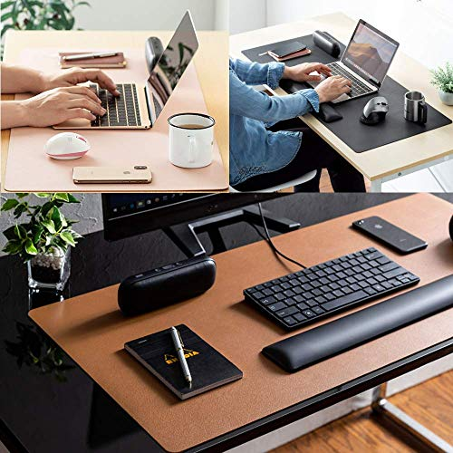 """Leather Desk Pad Protector,Mouse Pad,Office Desk Mat, Non-Slip PU Leather Desk Blotter,Laptop Desk Pad,Waterproof Desk Writing Pad for Office and Home (Black,31.5"""" x 15.7"""") Photo #7"""