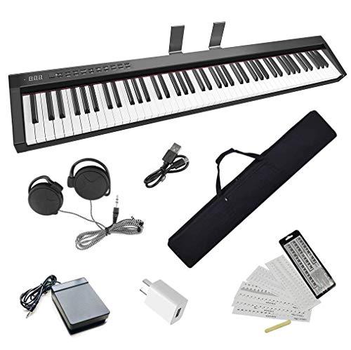 Longeye 電子ピアノ 88鍵盤 NEW Version 軽量 小型 ワイヤレス MIDI ペダル 専用譜面台 鍵盤シール 練習用イヤホン付属 専用ケース付き コンパクト 10�oストローク 充電式 バッテリ内蔵 長時間利用可能 練習にピッタリ 初心者