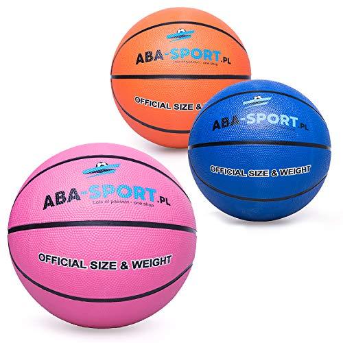 ABA Sport Basketball Ball Indoor und Outdoor | NBA Training | Basketbälle für Kidner und Erwachsenen | Größe 5 | Bälle | Farbenauswahl : Rosa Orange Blau (Blau)