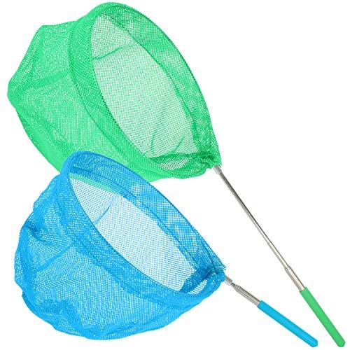 com-four® 2X ausziehbare Kescher für Kinder - Insekten-Netz eignet Sich zum Fangen von Schmetterlingen - mit Teleskop-Stab [Farbauswahl variiert] (2 Stück)