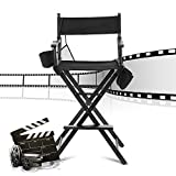 Cocoarm Makeup Artist Directors Chair Tall Lightweight Foldable Wood Chair Black Portable Professional Makeup Chair with Storage Side Bags Footrest, Support to 256+ lbs