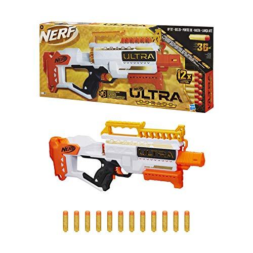 Nerf Ultra Dorado motorisierter Blaster, Goldakzente, schnelles Laden von hinten, 12 Nerf Ultra Darts, nur mit Nerf Ultra Darts kompatibel