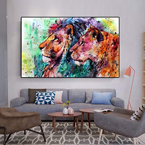 Danjiao Acuarela Cartel Lienzo Pintura Animal Estampados Resumen León Moderno Arte Pop Cuadros De Pared Para Sala Cuadros Decoración Para El Hogar Sala De Estar Decor 60x90cm