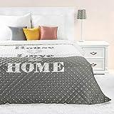 Eurofirany Tagesdecke House Love Home Steppung Karomuster Grau Weiß Bettüberwurf Decke Doppelbett (200 x 220 cm)