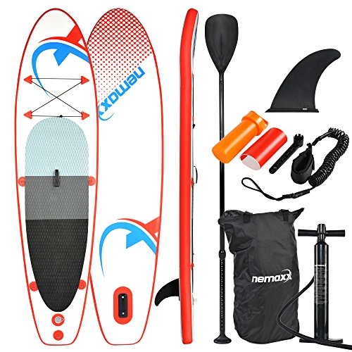 Nemaxx Stand up Paddle Board 120' x 30' x 3.9' (305x76x10 cm), red/blue - SUP, surfboard inflatable & easy to carry - incl. travelbag, paddle, fin, air pump, repair kit, foot leash